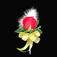 "Wedding Flowers Free-form Peonies Boutonnieres Wedding / Party/ Evening Satin / Cotton Red 3.94""(Approx.10cm)"