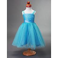 A-line Straps Tea-length Taffeta Flower Girl Dress