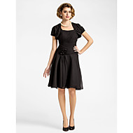 A-line Plus Sizes Mother of the Bride Dress - Black Knee-length Short Sleeve Chiffon