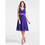 TS Couture® Cocktail Party Dress - Short Plus Size / Petite A-line / Princess V-neck Knee-length Chiffon with Beading / Draping / Criss Cross