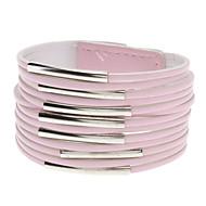 Multilayer Leather Metal Ring Wide Bracelet(Pink)