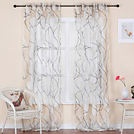 Rococo Two Panels Curve White Living Room Polyester Sheer Curtains Shades