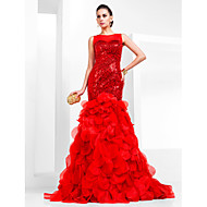 Prom / Formal Evening Dress-Ruby Plus Size / Petite Fit & Flare Bateau Court Train Organza / Sequined