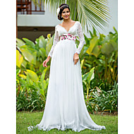 Lanting Sheath/Column Plus Sizes Wedding Dress - Ivory Floor-length V-neck Chiffon/Lace