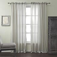 diáfanas cortina dois painéis de linho mistura de algodão jacquard tarja clássico