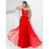 TS Couture Formal Evening / Prom / Military Ball Dress - Ruby Plus Sizes / Petite Sheath/Column One Shoulder / Sweetheart Floor-lengthChiffon /