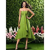 Lanting Bride® Tee-Länge / Asymmetrisch Chiffon Brautjungfernkleid Eng anliegend Trägerlos / Herzausschnitt Übergröße / Zierlich mit