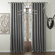 Two Panels  Solid Classic Faux Linen Room Darkening Curtain