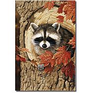 Impreso Pantalla Animal Mapache por William Vanderdasson con el marco de estirado
