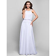 Formal Evening/Prom/Military Ball Dress - White Plus Sizes A-line Jewel Floor-length Chiffon