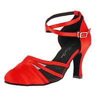 Customizable Women's Dance Shoes Modern Satin Customized Heel Red