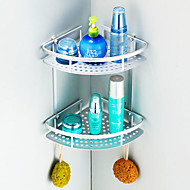 "Bathroom Shelf Aluminum Wall Mounted 220 x 220 x 250mm (8.66 x 8.66 x 9.8"") Aluminum Contemporary"