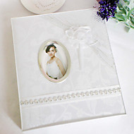 Elegant White Wedding Photo Album med Oganza Flower