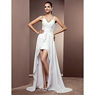 Lan Ting Sheath/Column Plus Sizes Wedding Dress - White Asymmetrical V-neck Chiffon