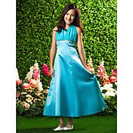 A-linje/Prinsesse Grime - Blå Ankel-lengde Sateng/Chiffon Junior brudepikekjole