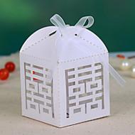 Double Happiness Hueco-hacia fuera caja del favor de la boda (juego de 12)