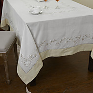 Blanc Mélange Poly/Coton Rectangulaire Nappes de table
