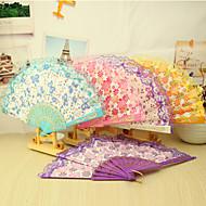 Plástico floral hermoso Ventilador Mano - Juego de 4 (colores mezclados, Diseño floral mixto)