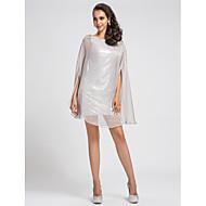 Cocktail Party Dress - Silver Plus Sizes / Petite Sheath/Column Bateau Short/Mini Chiffon / Sequined