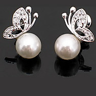 Graceful Alloy With Pearl Butterfly Shaped Women's Earrings