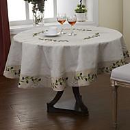 Beige / A Motifs Lin Rond Nappes de table
