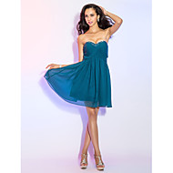 Cocktail Party Dress - Short Plus Size / Petite A-line Sweetheart Knee-length Chiffon with Beading / Criss Cross