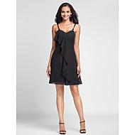 hjemkomst kort / mini chiffon brudepige kjole - sort plus størrelser kappe / kolonne spaghetti-stropper / kæreste