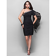 TS Couture® Cocktail Party Dress - Short Plus Size / Petite Sheath / Column One Shoulder Knee-length Chiffon with Crystal Detailing / Criss Cross