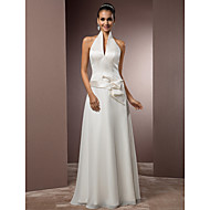 Sheath/Column Plus Sizes Wedding Dress - Ivory Floor-length Halter Satin/Chiffon