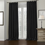 Two Panels Modern Solid Black Living Room Polyester Blackout Curtains Drapes
