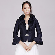 Wedding  Wraps Coats/Jackets 3/4-Length Sleeve Taffeta Dark Navy Wedding / Party/Evening / Office & Career / Casual Beading / Ruffles