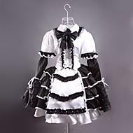 Long Sleeve Short Black and White Satin Gothic Lolita Dress