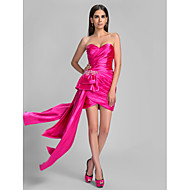 Cocktail Party / Holiday Dress - Fuchsia Plus Sizes / Petite Sheath/Column Sweetheart Asymmetrical Stretch Satin
