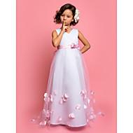 A-line/Princess Sweep/Brush Train Flower Girl Dress - Tulle/Satin Sleeveless