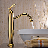 Vessel Single Handle One Hole in Ti-PVD Bathroom Sink Faucet
