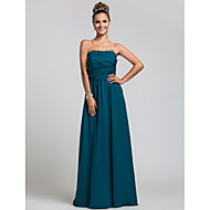 Formal Evening / Wedding Party / Military Ball Dress Sheath / Column Strapless Floor-length Chiffon with Ruffles / Side Draping