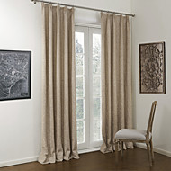 Neoclassical Two Panels Solid Khaki Bedroom Linen/Polyester Blend Panel Curtains Drapes