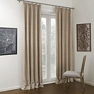 שני לוחות הניאו-קלאסיים וילונות וילונות פנל תערובת הפשתן / פוליאסטר חדר שינה בצבע חאקי המוצק