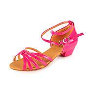 Non Customizable Kids' Dance Shoes Latin/Ballroom Leatherette Chunky Heel Silver/Gold/Fuchsia