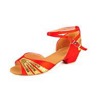 Non Customizable Kids' Dance Shoes Latin/Ballroom Satin Chunky Heel Black/Blue/Red