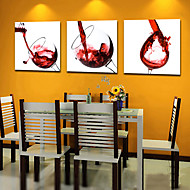 Stretched Canvas Art Still Life Wine Glasses Set of 3