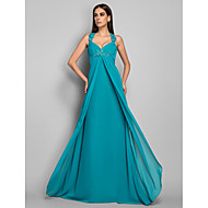 TS Couture® Formal Evening / Military Ball Dress - Open Back Plus Size / Petite Sheath / Column V-neck Sweep / Brush Train Chiffon with Appliques