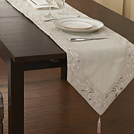 Beige Cotton Blend Rectangular Table Runners