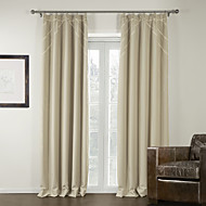 TWOPAGES® (Two Panels) Ivory Modern Room Darkening Curtain