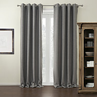 Modern Two Panels Solid Grey Living Room Polyester Blackout Curtains Drapes
