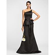Dress - Black Trumpet/Mermaid One Shoulder Floor-length Satin