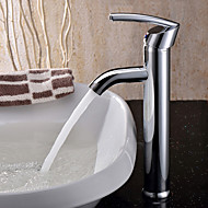Contemporary Vessel Ceramic Valve Single Handle One Hole with Chrome Bathroom Sink Faucet