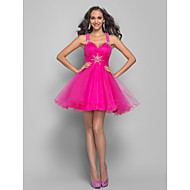 TS Couture® Prom / Cocktail Party Dress - Fuchsia Plus Sizes / Petite A-line / Princess Straps Short/Mini Tulle