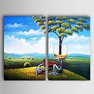 pintado a mano paisaje pintura al óleo con marco estirado - juego de 2