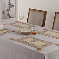 "11 ""x17"" uppsättning av 6 beige polyester blommig bordstabletter"